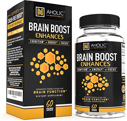 AHOLIC NUTRITION Energy Pills – Caffeine Pills with L-Theanine for All Day Energy and Focus – Nootropic Stack to Improve Alertness, Focus Supplement to Boost Cognitive Performance Physical Stamina