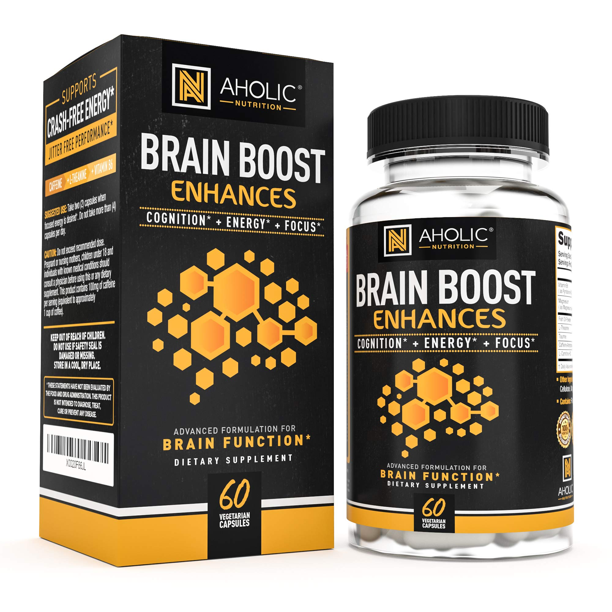 Premium Energy Pills with Caffeine L-Theanine Vitamin B6 Fish Oil + More! All Natural Clean Focused Energy for Mind & Body! Keto Pills for Women and Men - Pre Workout Energy Supplement for Keto Diet by AHOLIC NUTRITION