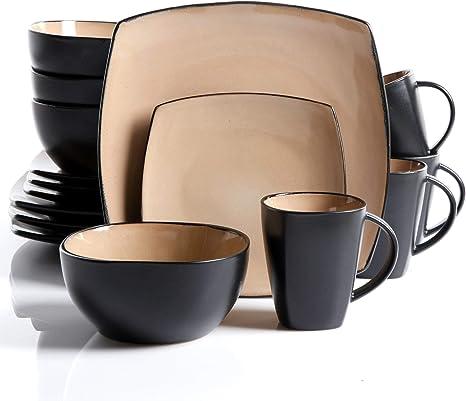 gibson soho lounge taupe 16 piece dinnerware set