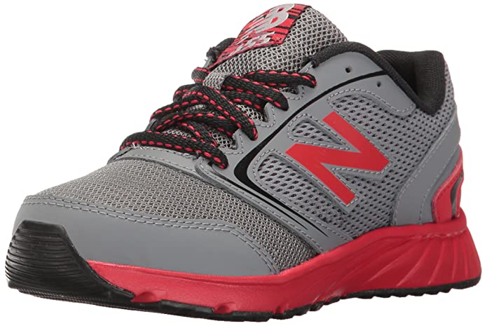New Balance Boys' 455 Running Shoe, Grey 1/Red, 1 M Little Kid