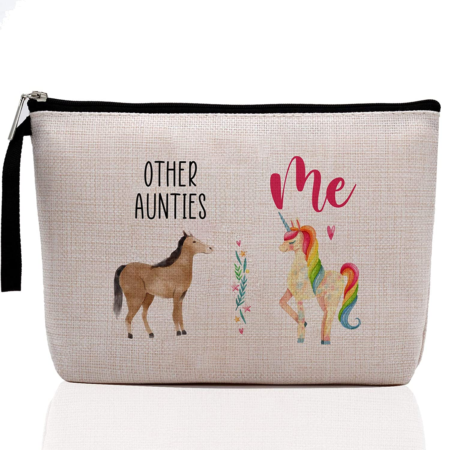 Funny Aunt Gifts, Auntie Gifts from Niece, Nephew, Best Aunt Ever, Niece Gifts from Aunt, Funny Gifts for Niece-Other Aunties Horse, Me Unicorn-Makeup Bag