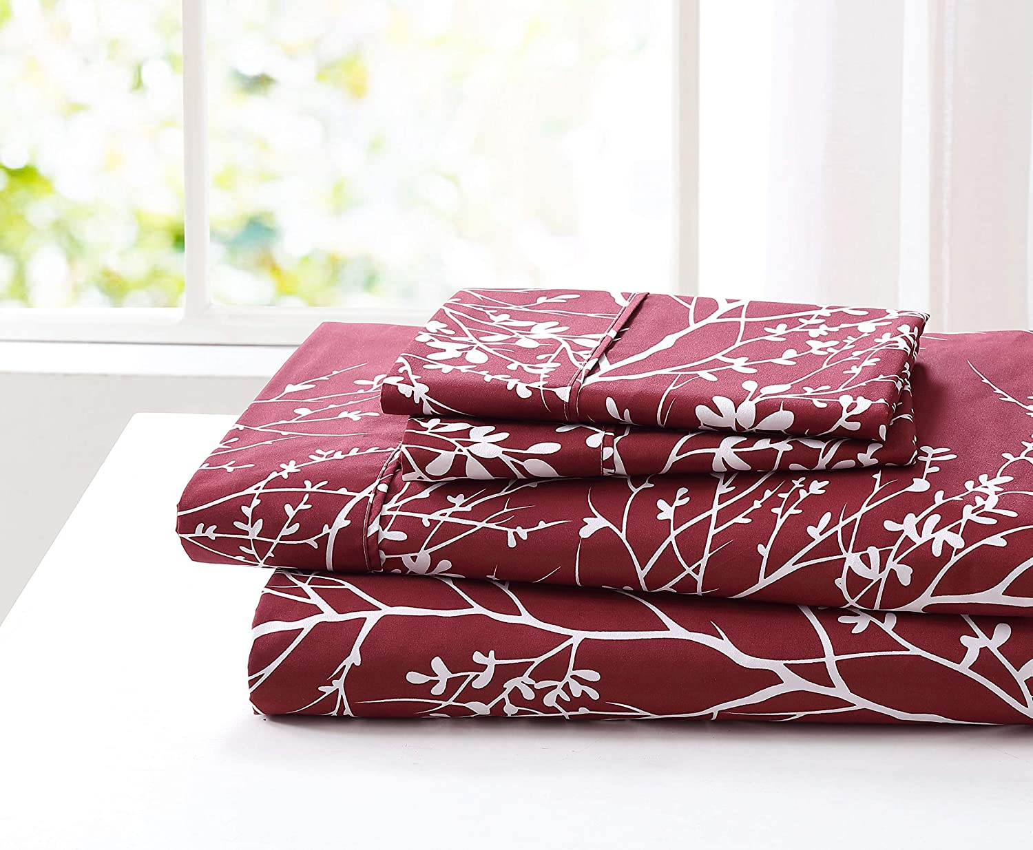 Spirit Linen Home 3pc Bed Sheets Set Printed Beautiful Foliage Design 1800 Bedding Soft Microfiber Sheet with Fitted Sheet and Pillowcases (Twin, Burgundy White)