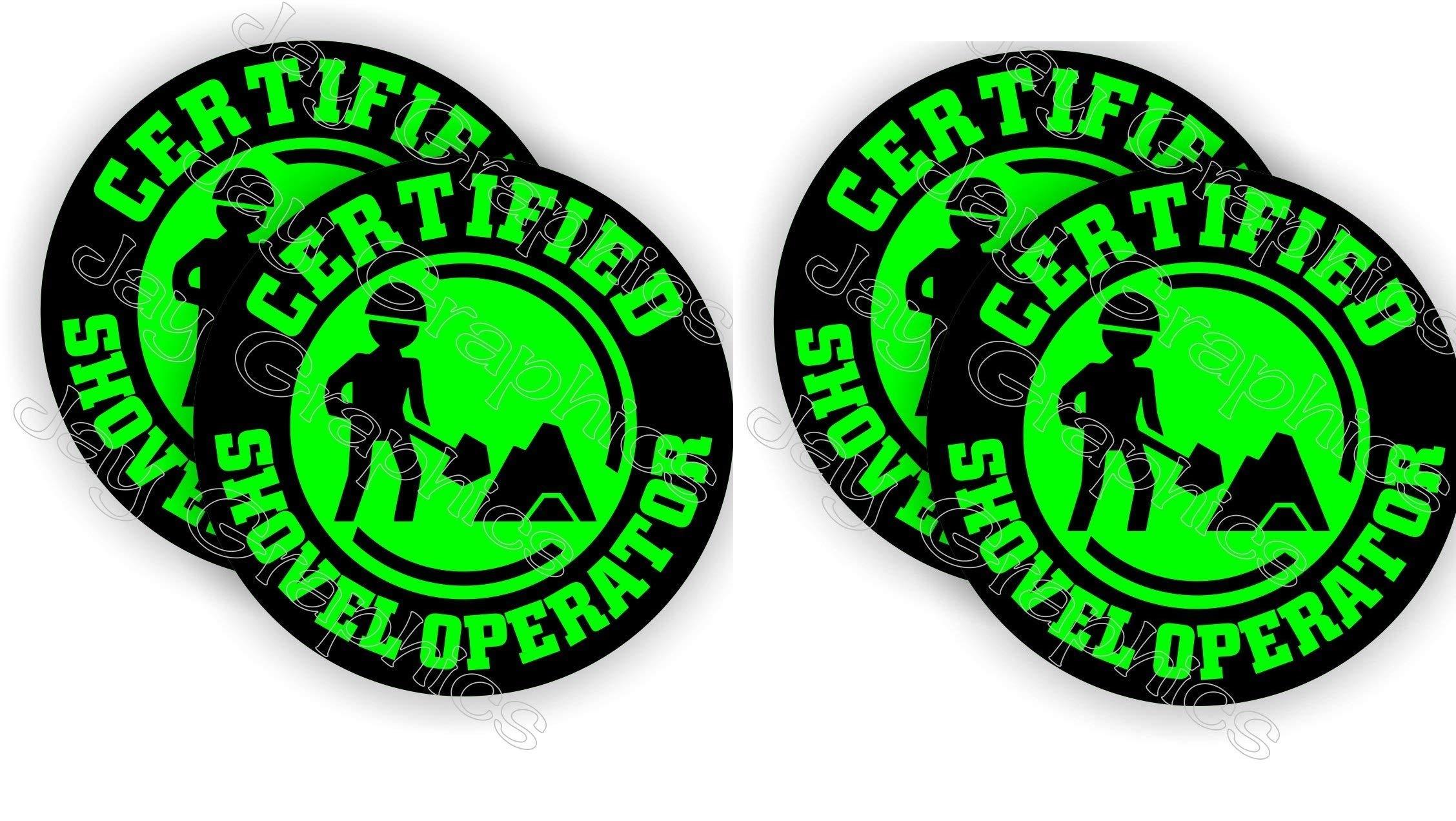 4 pieces SET   Certified SHOVEL OPERATOR   Hard Hat Sticker   Decal   Helmet Label Rude Funny