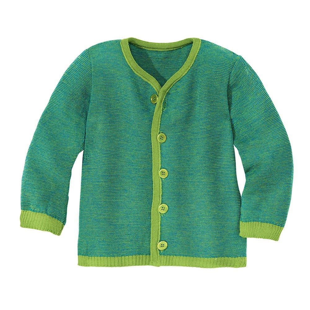Disana Baby/Kinder Strick-Jacke Bio-Merinoschurwolle,Grün-Blau, Gr. 110/116 Grün-Blau