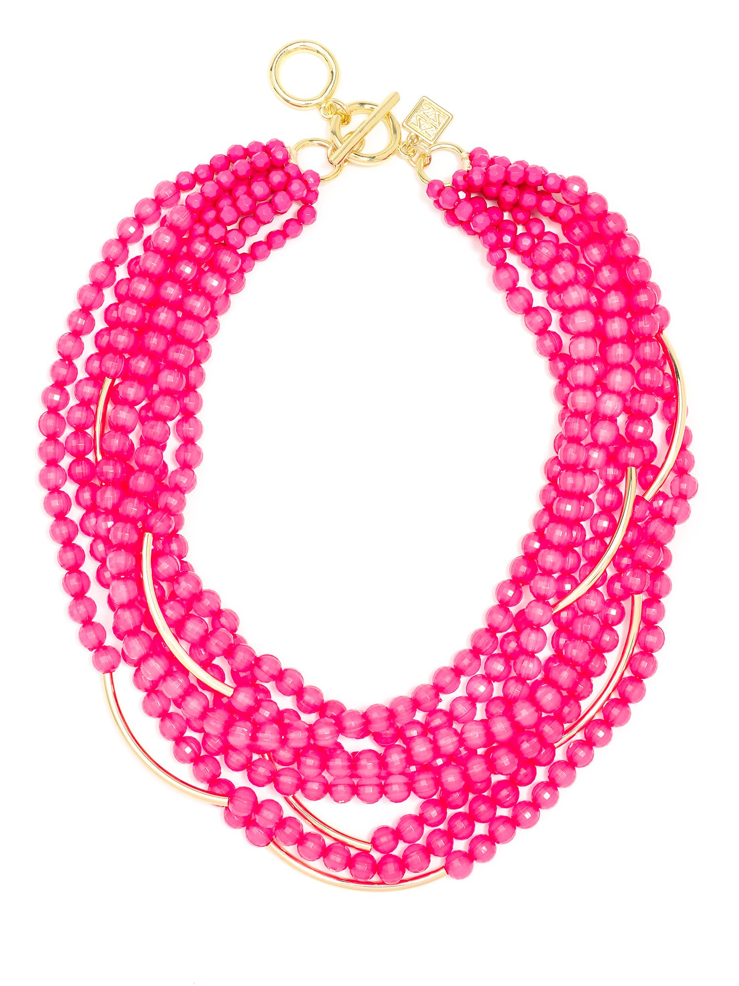 ZENZII Catch The Wave Beaded Necklace (Hot Pink)