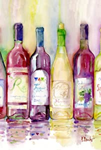 Toland Home Garden Reds and Whites 12.5 x 18 Inch Decorative Colorful Wine Bottle Cabernet Zinfandel Garden Flag