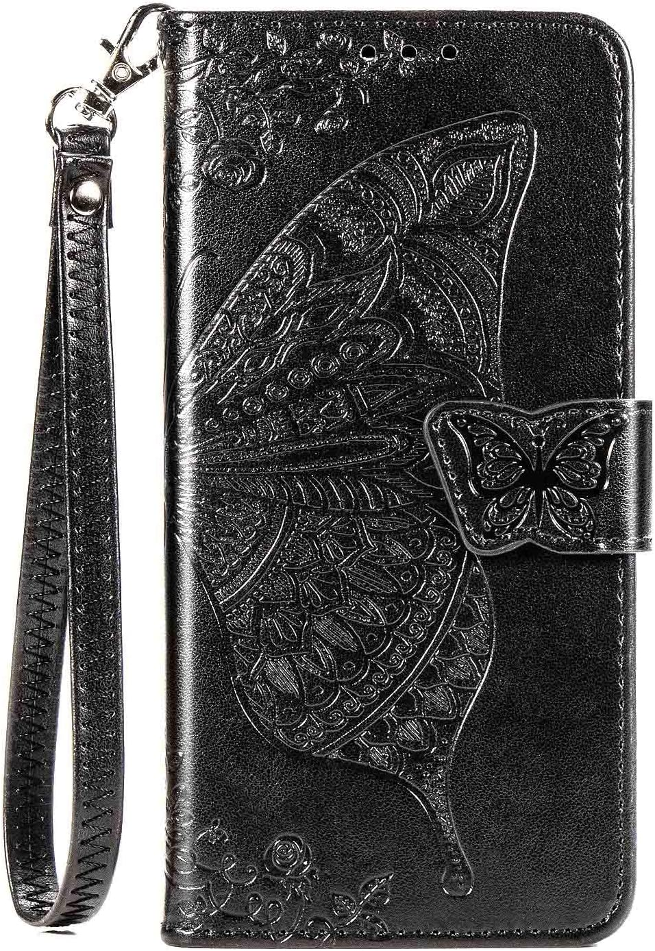 CaseHQ Compatible with iPhone 12 Case 6.1 inch,iPhone 12 Pro Case 6.1 inch (2020),Wallet Case for Women and Girls,Premium Strap with Card Holder,3D Embossed Butterfly,Pu Leather Flip-Purple