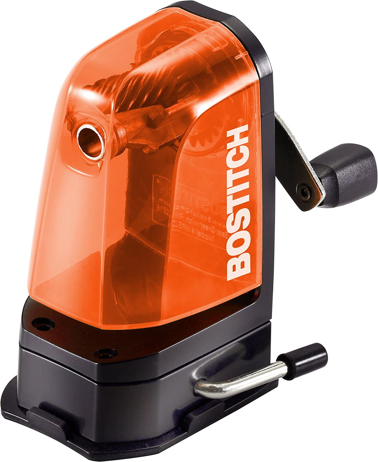 Bostitch Multi-Mount Manual Pencil Sharpener, Vacuum Mount or Screw Mount, Orange (MPS2-ORG)