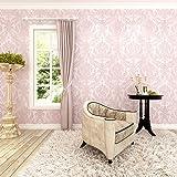 HANMERO Papier Peint Intissé à Paillettes Baroque Vintage Damassé 3D Flocage pour Chambre Salon Bureau, Rose---10m*0.53m