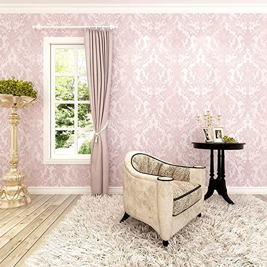 hanmero papier peint intiss paillettes baroque vintage damass 3d flocage pour chambre salon bureau - Chambre Vintage Rose