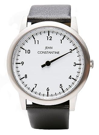 d7784155b0d098 Jean Constantine einzeiger Montre Unisexe 5 ATM Bracelet en cuir einzeiger Montre  bracelet couleur   blanc