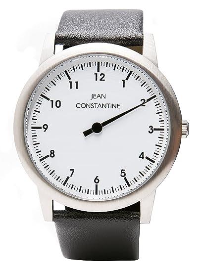 Reloj de pulsera unisex de la marca Jean Constantine, 5 ATM, correa de cuero auténtico.Color blanco, 42 mm: Amazon.es: Relojes