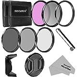 Neewer - 52MM Fotocamera Filtro Accessorio Kit per NIKON D3300 D3200 D3100 D3000 D5300 D5200 D5100 D5000 D7000 D7100 DSLR Fotocamera, Kit Include: 52mm Filtri Kit (UV, CPL, FLD,ND2, ND4, ND8)+Parasole a Forma di Tulipano+Copriobiettivo +Cinturino per Copriobiettivo +Borsetta Portabile per Filtri+ Panno di Pulizia in Microfibra
