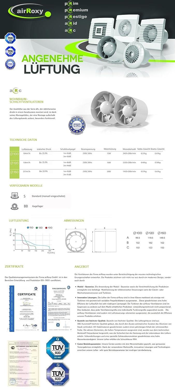 Cuscinetti a Sfera 257 m/³ silenziosa /Ø 150 mm MKK-SHOP Ventola di Scarico 20 W