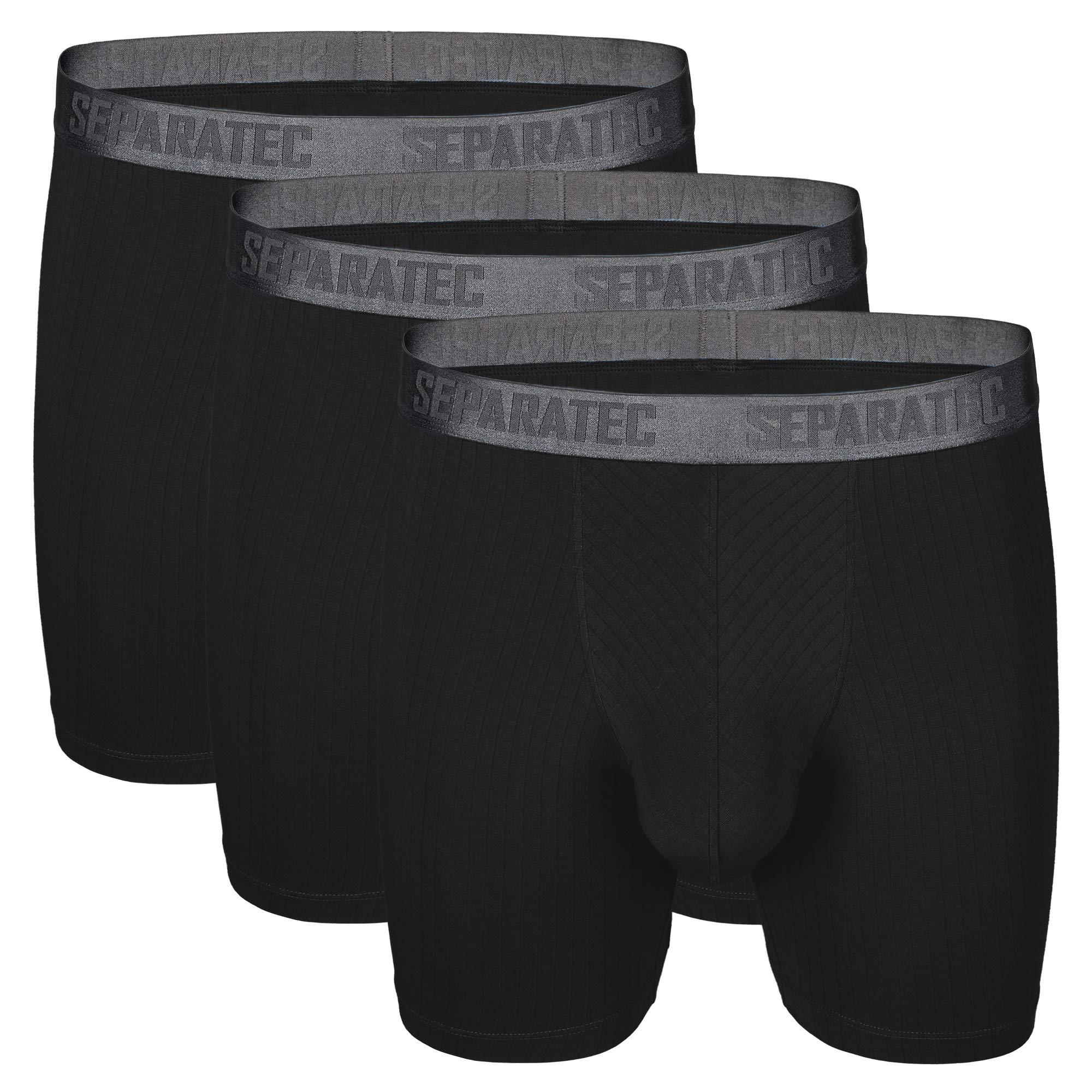 Separatec Men's 3 Pack Soft Modal Stylish Drop Needle Striped Boxer Briefs Underwear(L,Black)