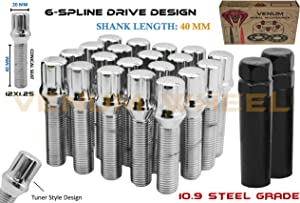 Venum wheel accessories 20 Pc Locking Chrome Spline Lug Bolts 12x1.25 W/ 2 Key Sockets (40 MM Extended Length) Cone Seat Compatible with Alfa Romeo Chrysler Dodge Fiat Jeep & More