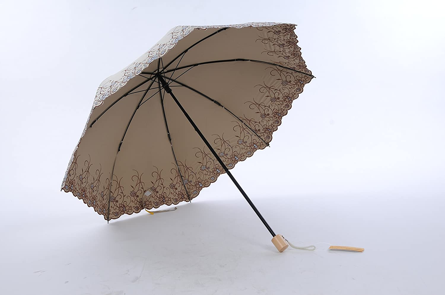 Honeystore Frilly Embroidery Lace Two Folding Parasol Travel Umbrella