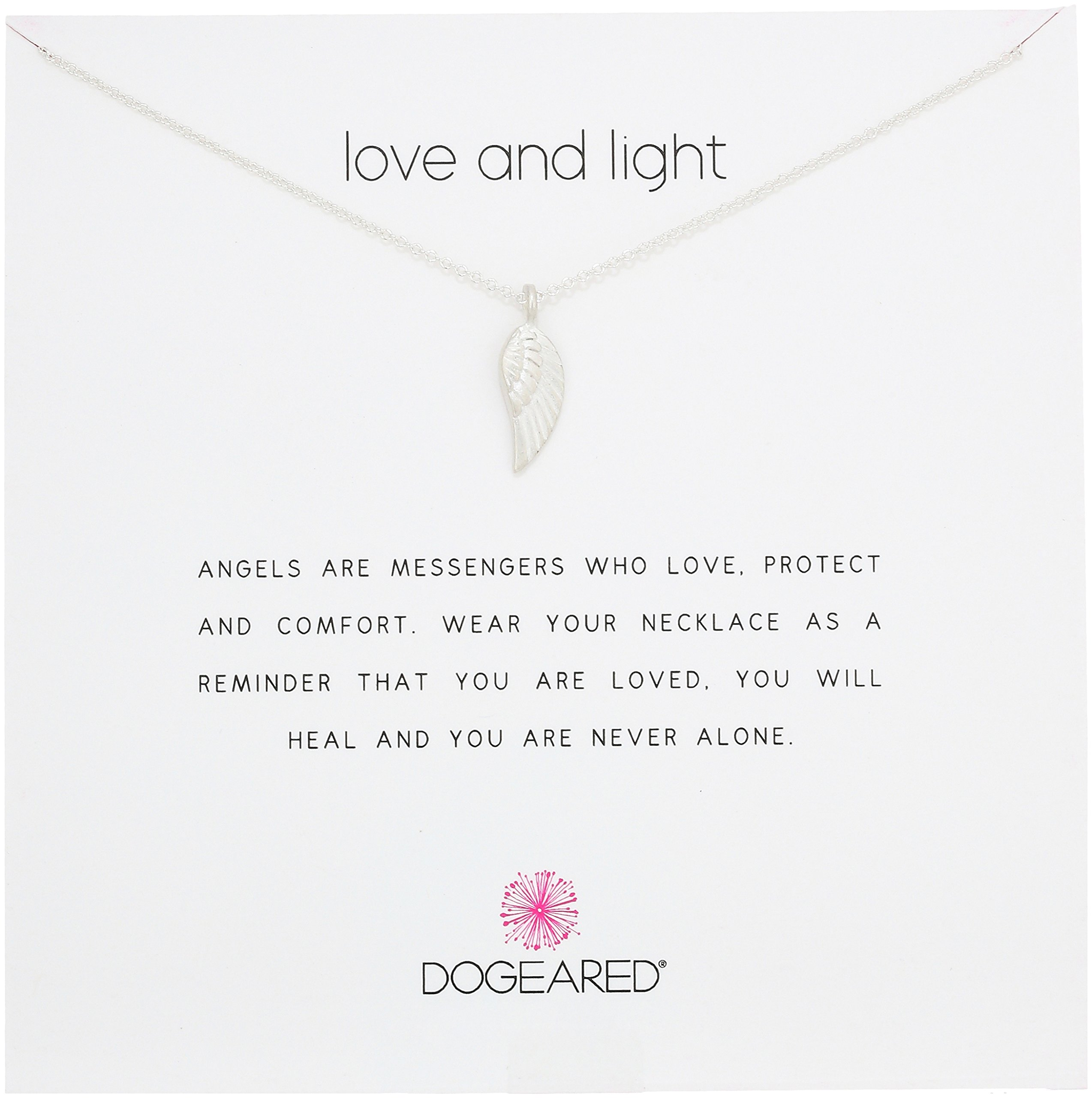 Dogeared Love and Light, Guardian Angel Wing, Silver Chain Necklace, 16''+2'' Extender