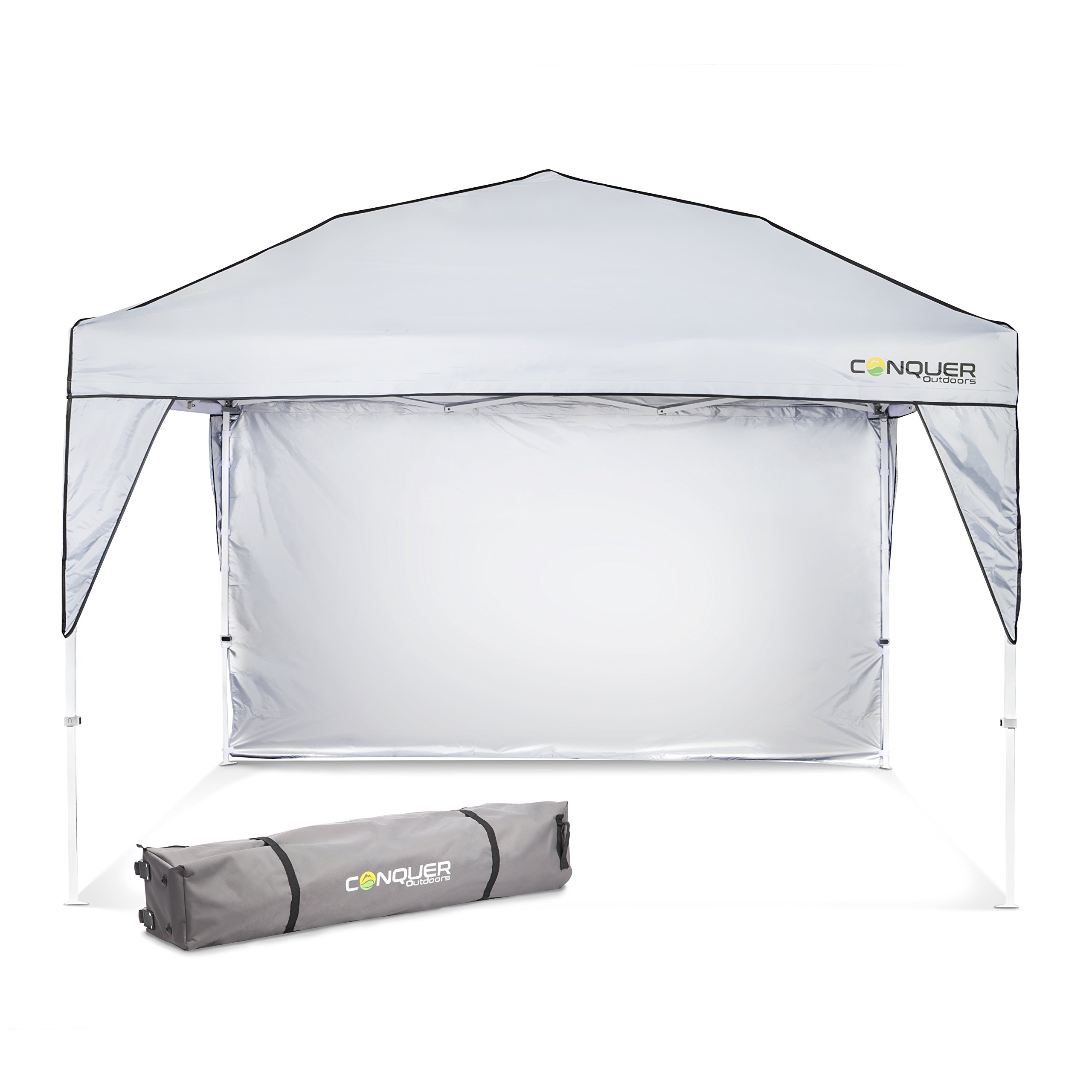 Pop Up Canopy and Shade Tent: Easy to Set Up Outdoor Canopy for Camping, Tailgating, Parties and Beach - Waterproof and Flame Resistant Polyester Material with Ventilation and Sun Wall - 10' x 10'
