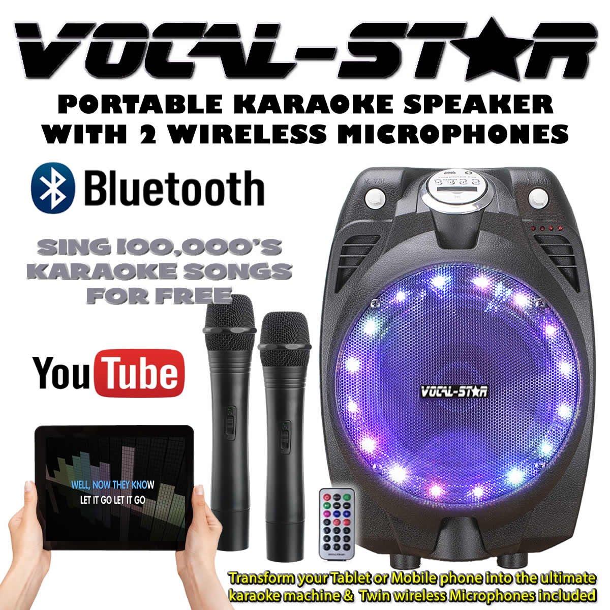 Vocal de Star VS de SP30Wireless Karaoke Machine Black Active Speaker Wireless Mics Bluetooth. Vocal-Star
