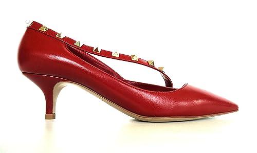 Mujer Para Valentino Vestir Rojo Garavani De Zapatos Piel wxxRqT6YP