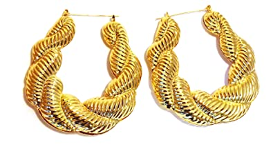56b367d40 Image Unavailable. Image not available for. Color: Hip Hop Large Puffy  Twist Gold Basketball Wives Door Knocker Bamboo Hoop Earring