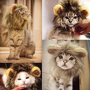 PAWACA León Mane peluca para disfraz de perro y gato ajustable lavable cómodo disfraz León pelo