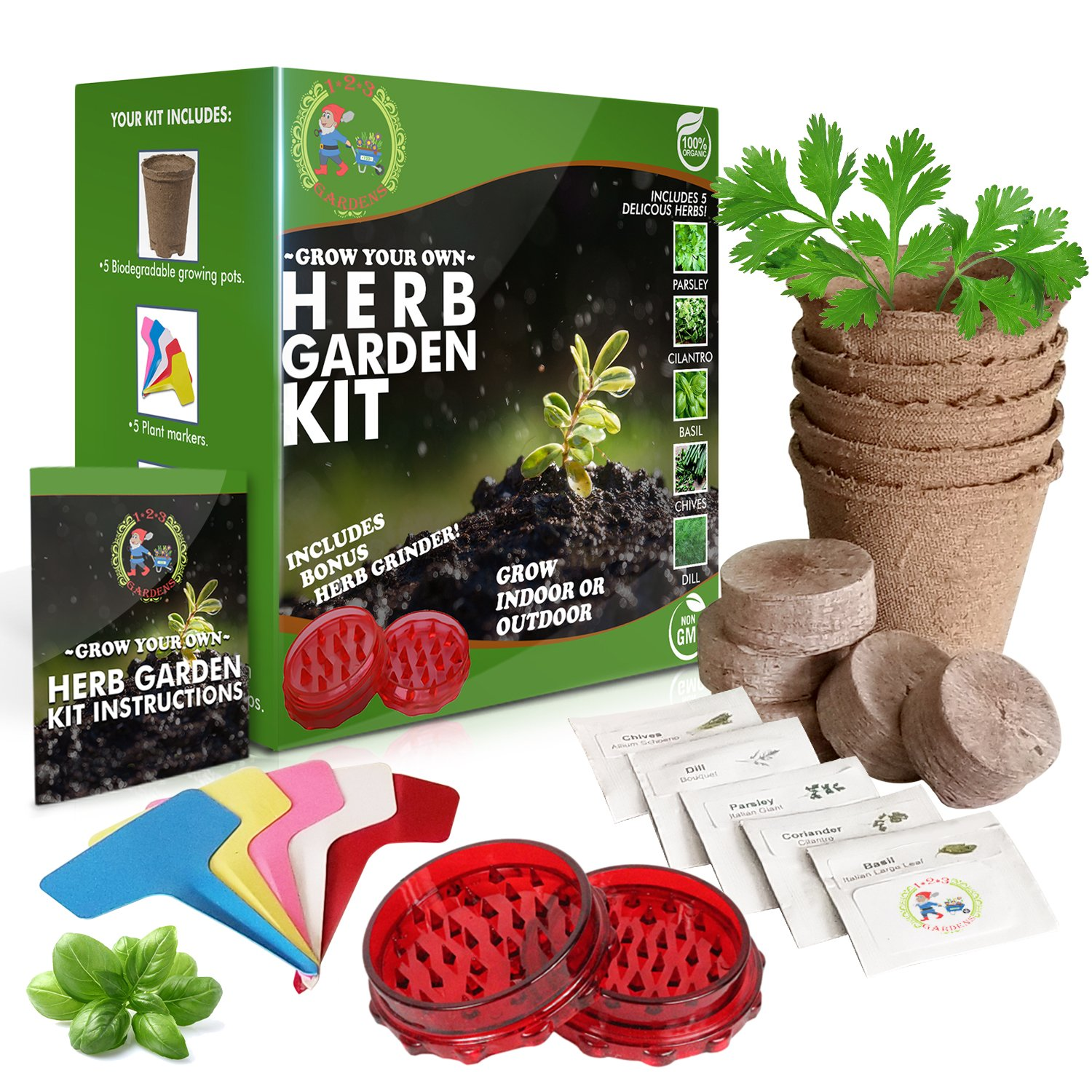 1-2-3 GARDENS- HERB GARDEN STARTER KIT-Grow 5 Delicious Herbs at Home (Parsley, Basil, Chives, Dill,Cilantro)Includes BONUS Herb Grinder- Grow Indoors or Outdoors-Organic and Non-GMO | Great Gift Idea by 1-2-3 GARDENS