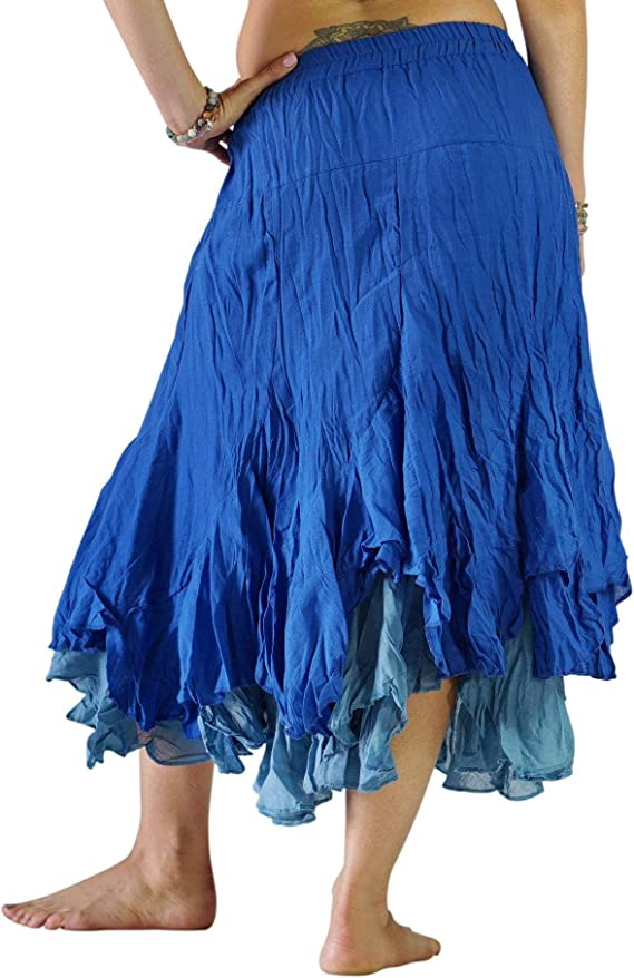 Burgundy//Gray zootzu Two Layer Gypsy Renaissance Skirt