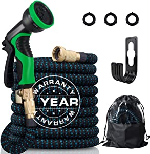 """50FT Expandable Garden Hose, Extra Strength 3750D Expanding Water Hose with Multi-function Spray Nozzle & 3/4"""" Solid Brass Fittings, No-Kink/Lightweight/Durable/Flexible Garden Hose for Watering"""