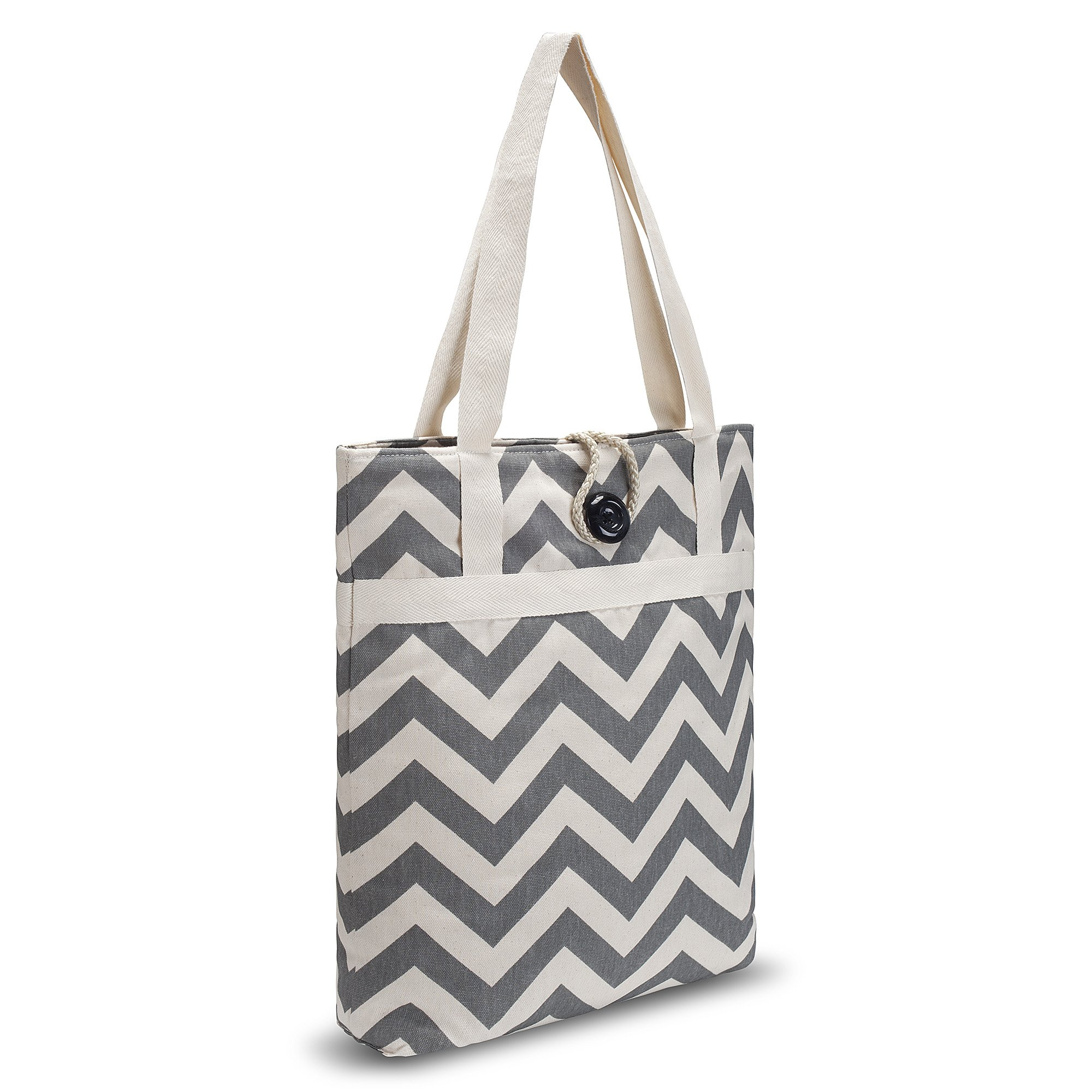 Kuzy - Tote Bag Travel Bag Cotton Handmade 16-inch for Beach, Pool & School and to Carry MacBook & Laptop, Book Bags - Chevron Zig-Zag Grey