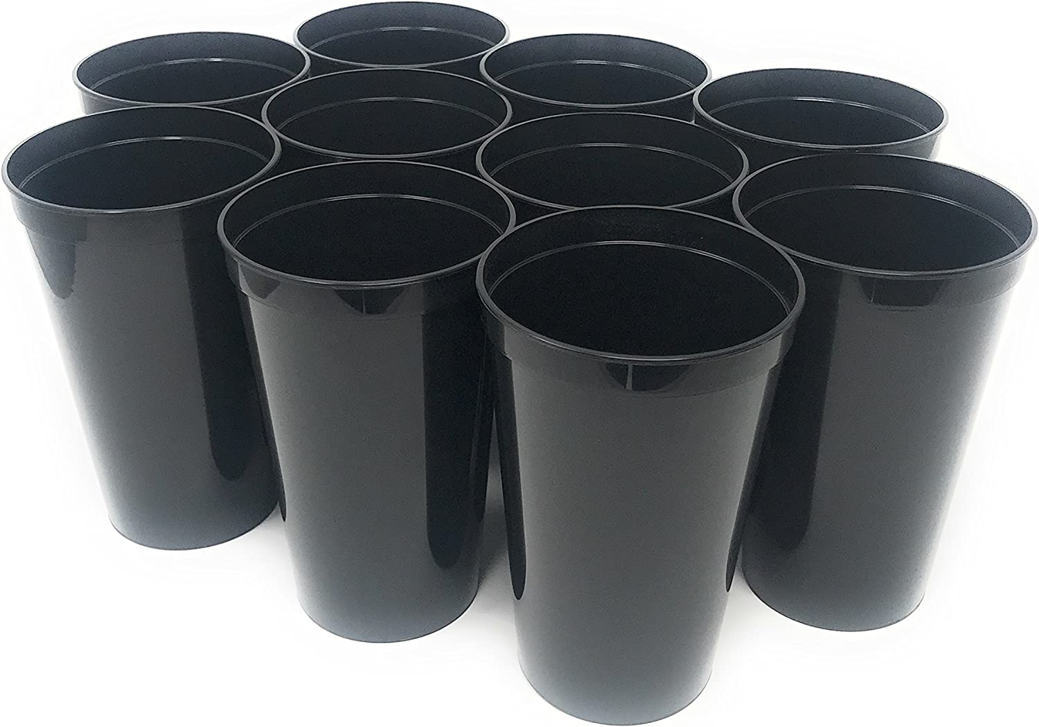 CSBD Stadium 22 oz. Plastic Cups, 10 Pack, Blank Reusable Drink Tumblers for Parties, Events, Marketing, Weddings, DIY Projects or BBQ Picnics, No BPA (Black)