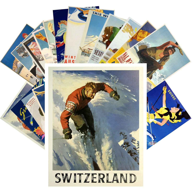 Postcard Pack 24pcs Ski Winter Sport Vintage Travel Poster Magazine Pixiluv