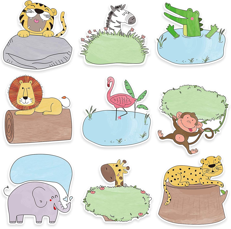 45 Pieces Jungle Animal Cutouts Safari Friend Animal Cutouts Versatile Colorful Classroom Decoration with Glue Point Dots for Bulletin Board Classroom School Safari Animals Theme Party, 5.9 x 5.9 Inch