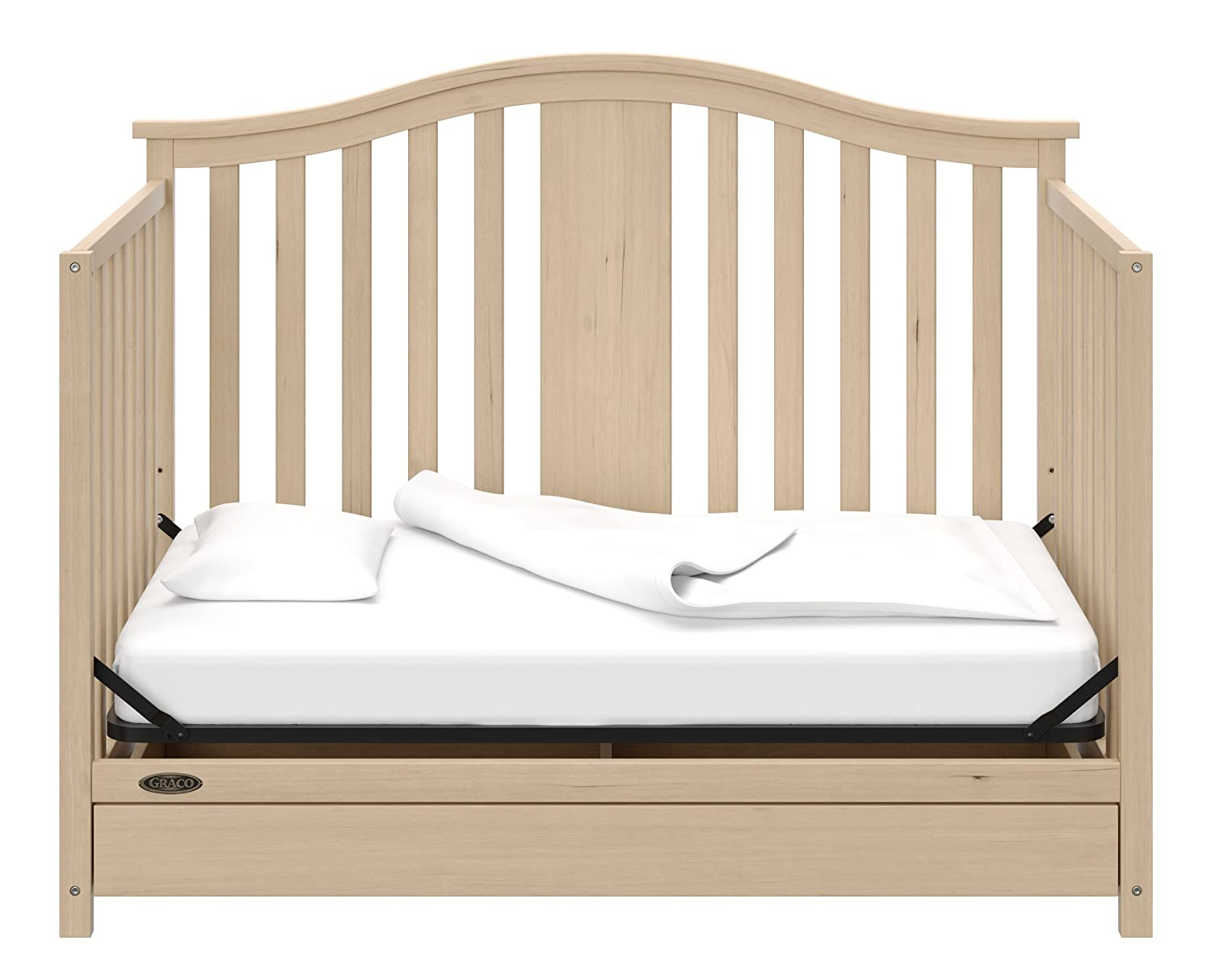 Mattress Not Included Three Position Adjustable Height Mattress Easily Converts to Toddler Bed Day Bed or Full Bed Assembly Required Graco Solano 4 in 1 Convertible Crib with Drawer Whitewash