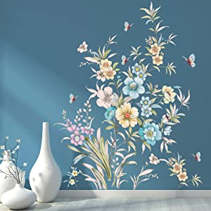 RW-1077 3D Flower Wall Decals Watercolor Flower Butterfly Wall Stickers DIY Removable Green Leaves Garden Floral Wall Art Murals Decor for Kids Girls Baby Bedroom Living Room Nursery Home Decoration