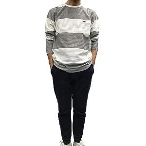 ロング Tシャツ ボーダー [ ホワイト ] BALL メンズ (Mサイズ) カットソー カジュアル ロンT オールシーズン