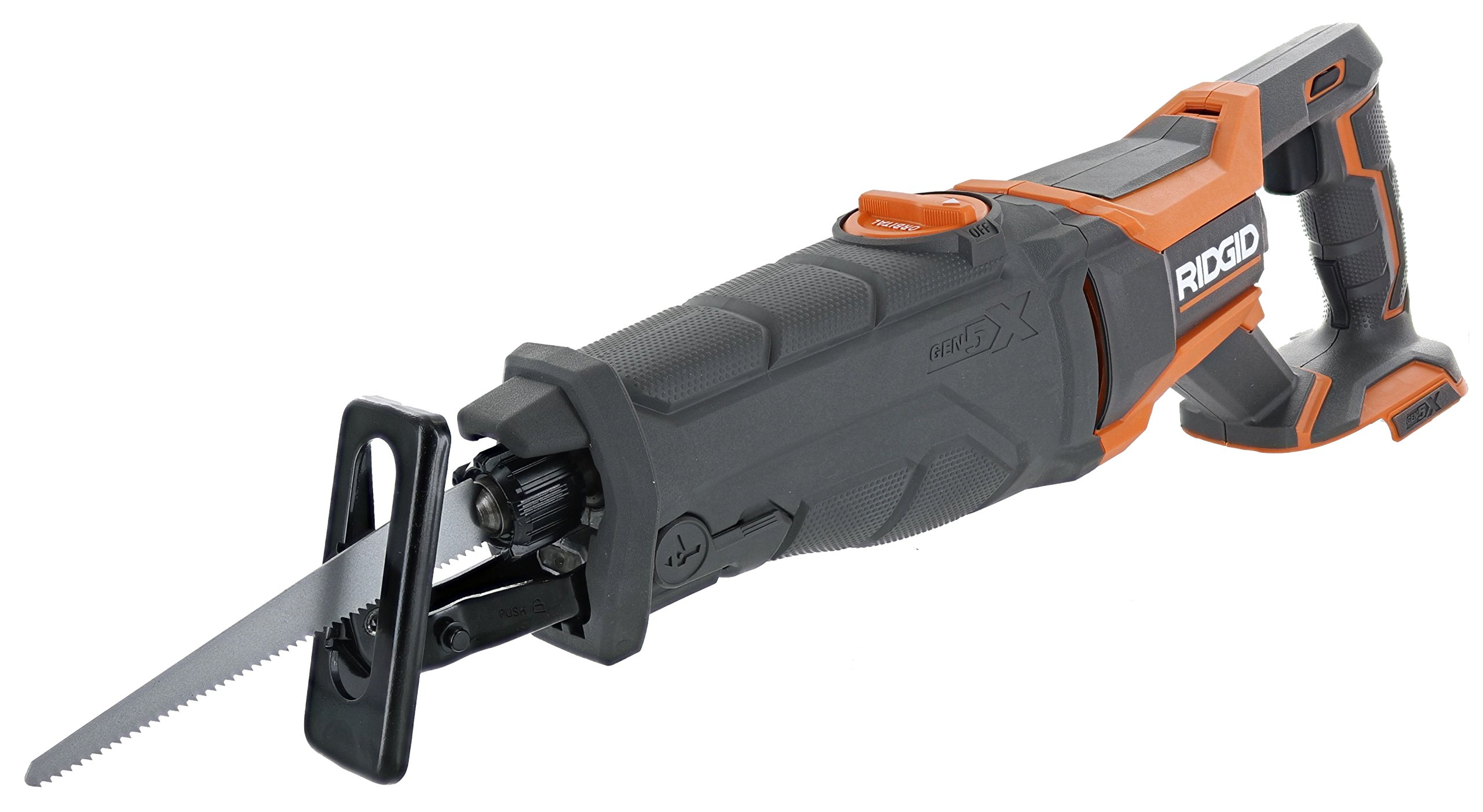 Ridgid R8642 Gen5X 18V Lithium Ion Cordless Reciprocating Saw with Tool-Free Blade Changing,  Sight Line Blowing, and Variable Orbital Settings (Battery Not Included, Tool Only) by Ridgid