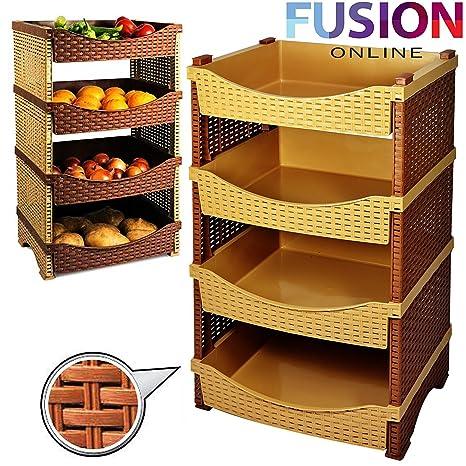carrello da cucina con 4 cestini per frutta e verdura materiale rattan sintetico