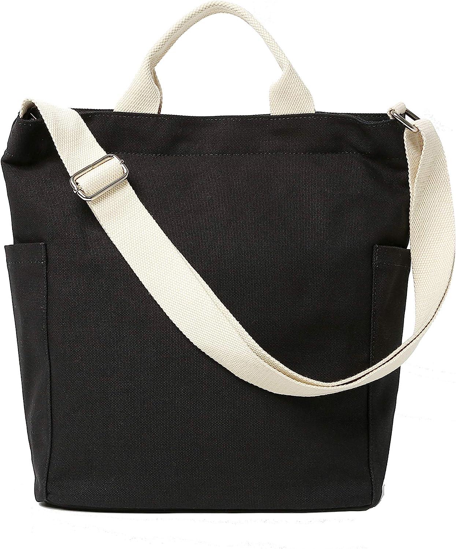 Jeelow Canvas Tote HandBag Crossbody Shoulder Bag With Zipper For Men & Women