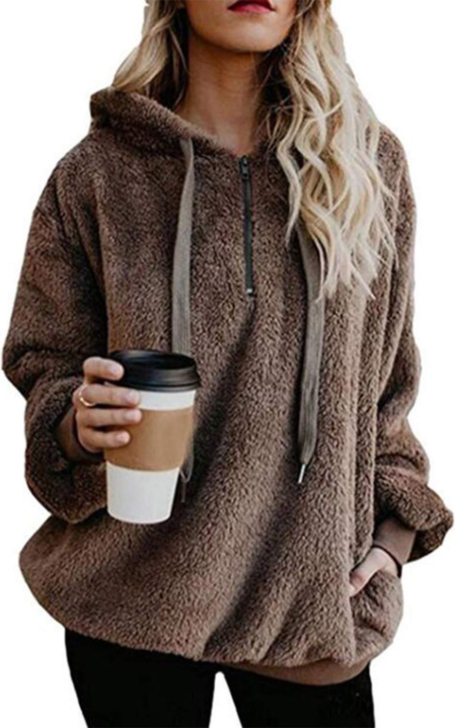 Angashion Womens Sweatshirt - Long Sleeve 1/4 Zip Up Faux Fleece Pullover Hoodies Coat Tops Outwear with Pocket 169 Khaki L