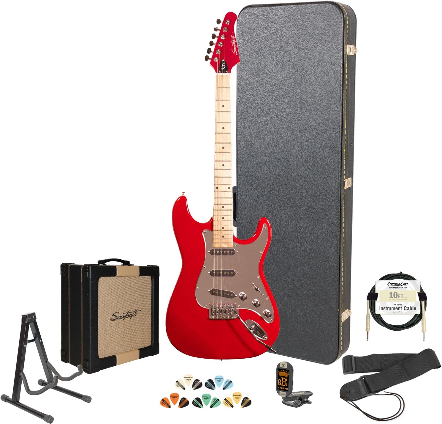 Sawtooth ST Style Electric Guitar with ChromaCast HardCase & Accessories, Candy Apple Red with Chrome Pickguard