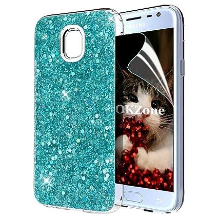 OKZone Funda Samsung Galaxy J3 2017, Cárcasa Brilla Glitter Brillante TPU Silicona Teléfono Smartphone Funda Móvil Case [Protección a Pantalla y Cámara] para Samsung Galaxy J3 2017 (Verde): Amazon.es: Electrónica