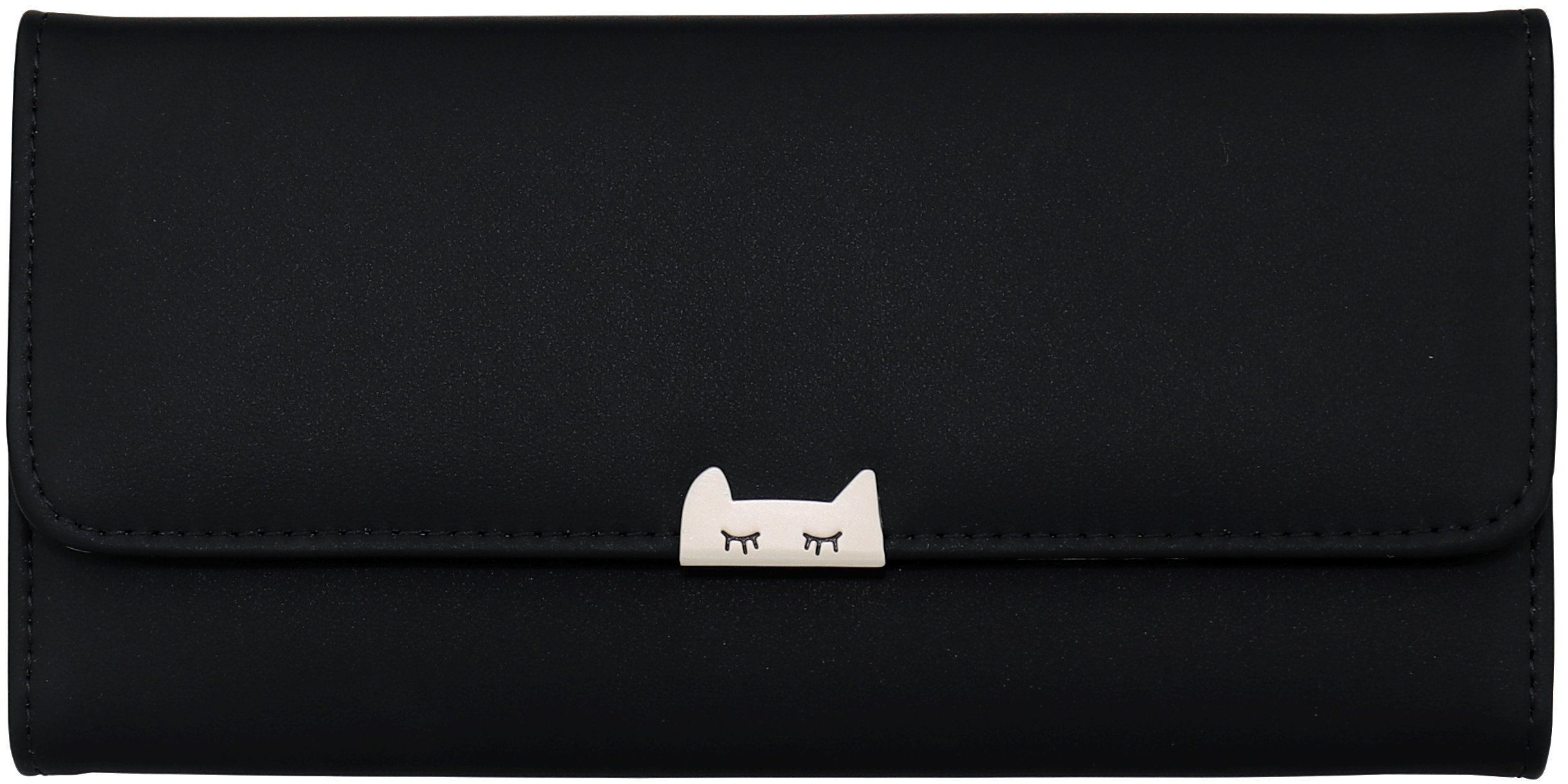 B BRENTANO Vegan Minimalistic Fashion Tri-Fold Wallet with Cat (Black)