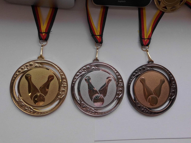 mit Medaillen-Band Gold,Silber,Bronce Bowlen Gro/ße Metall 70mm Gold,Silber,Bronce e259 Fanshop L/ünen Medaillen Set mit Emblem Alu 25mm Bowling Turnier -