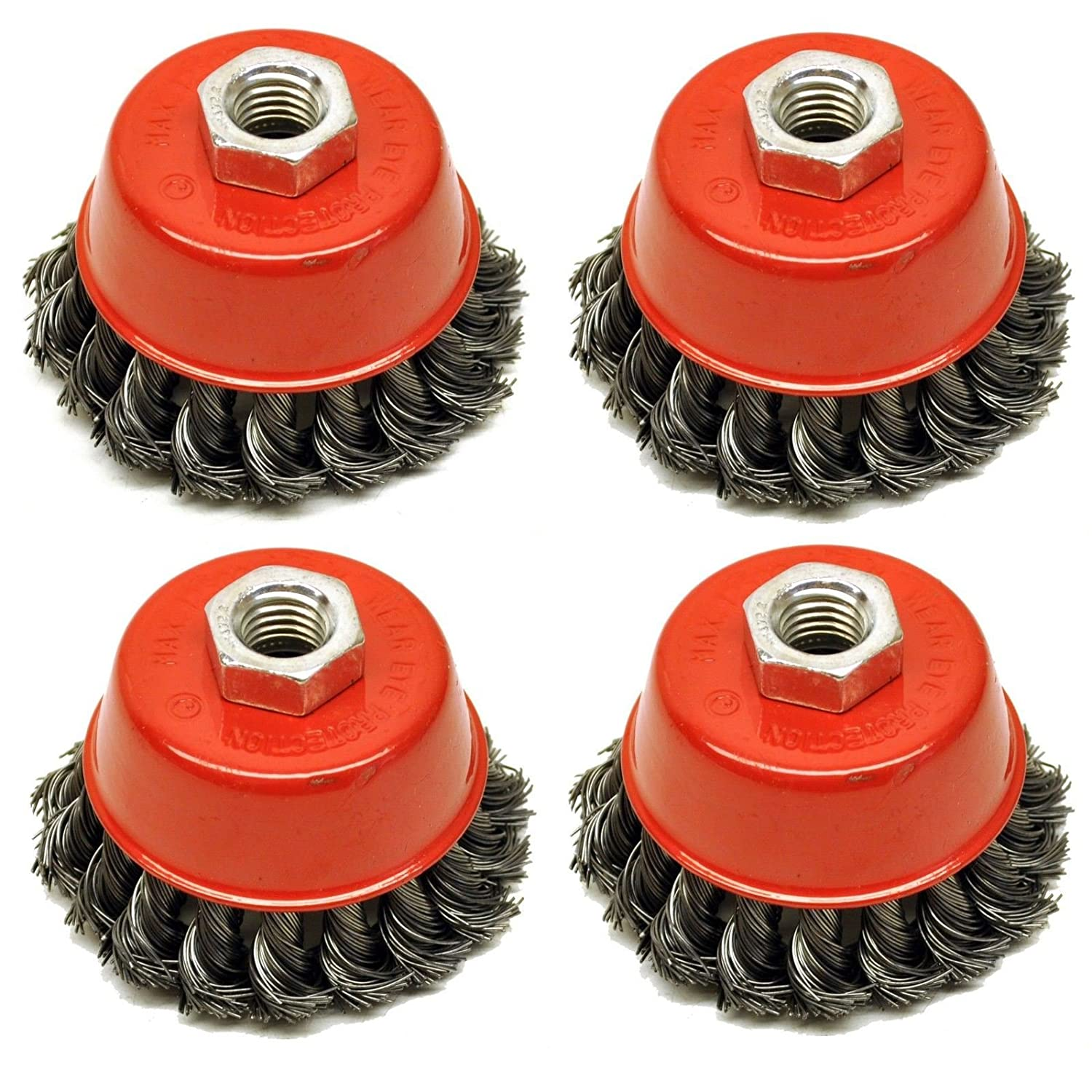 Wire Cup Brush Wheel 3' for 4-1/2' 115mm Angle Grinder Twist Knot 4 Pack AU026 AB Tools
