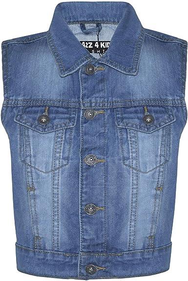 A2Z 4 Kids Kids Boys Denim Mid Blue Jacket Designers Fashion Jeans Gilet Faded Stylish Sleeveless School Jackets Coats New Age 3 4 5 6 7 8 9 10 11 12 13 Years