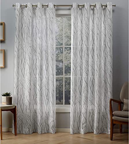 Exclusive Home Curtains Oakdale Sheer Textured Linen Grommet Top Curtain Panel Pair, 54×108, Silver