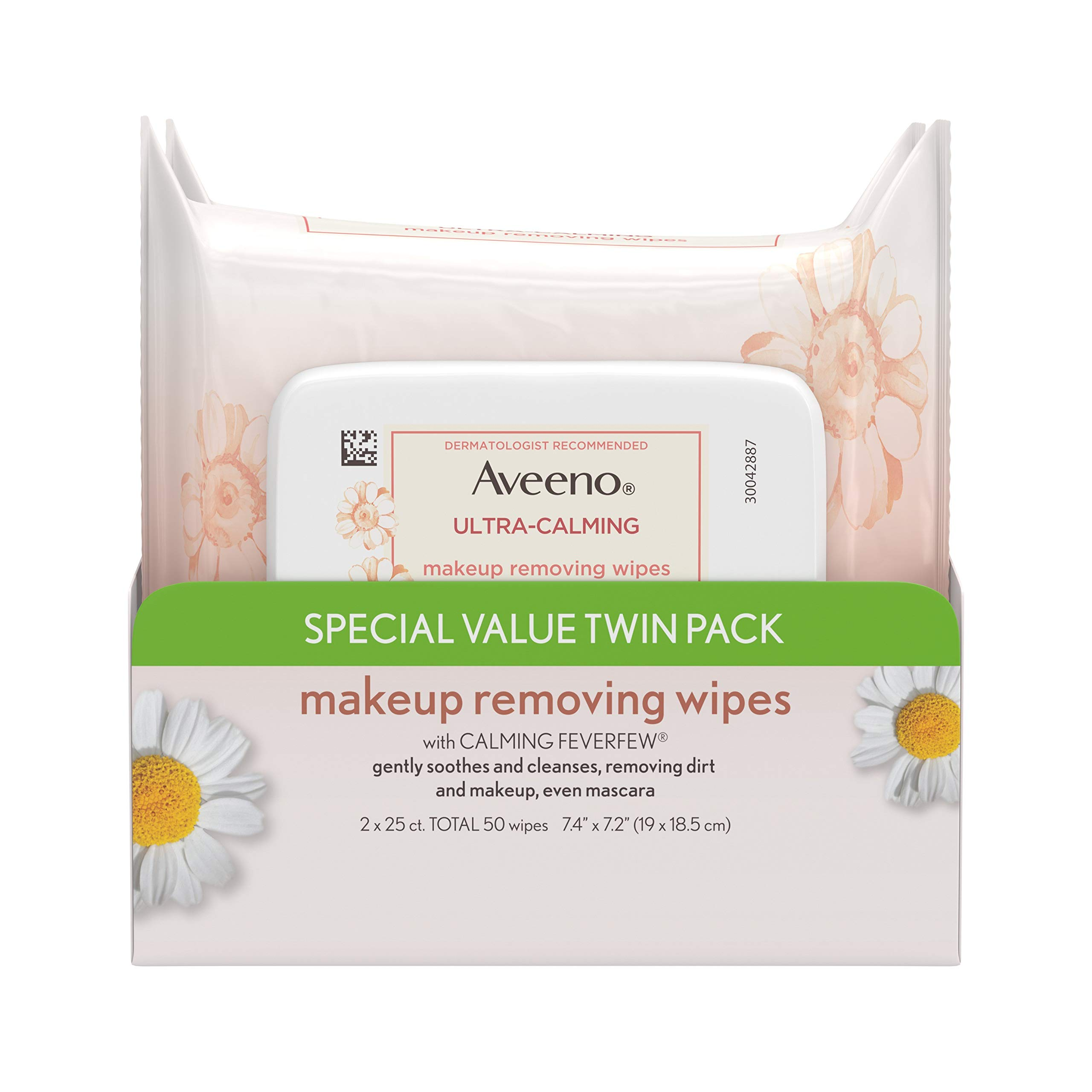 Aveeno Ultra-Calming Cleansing Oil-Free Makeup Removing Wipes for Sensitive Skin, 25 Count, Twin Pack by Aveeno