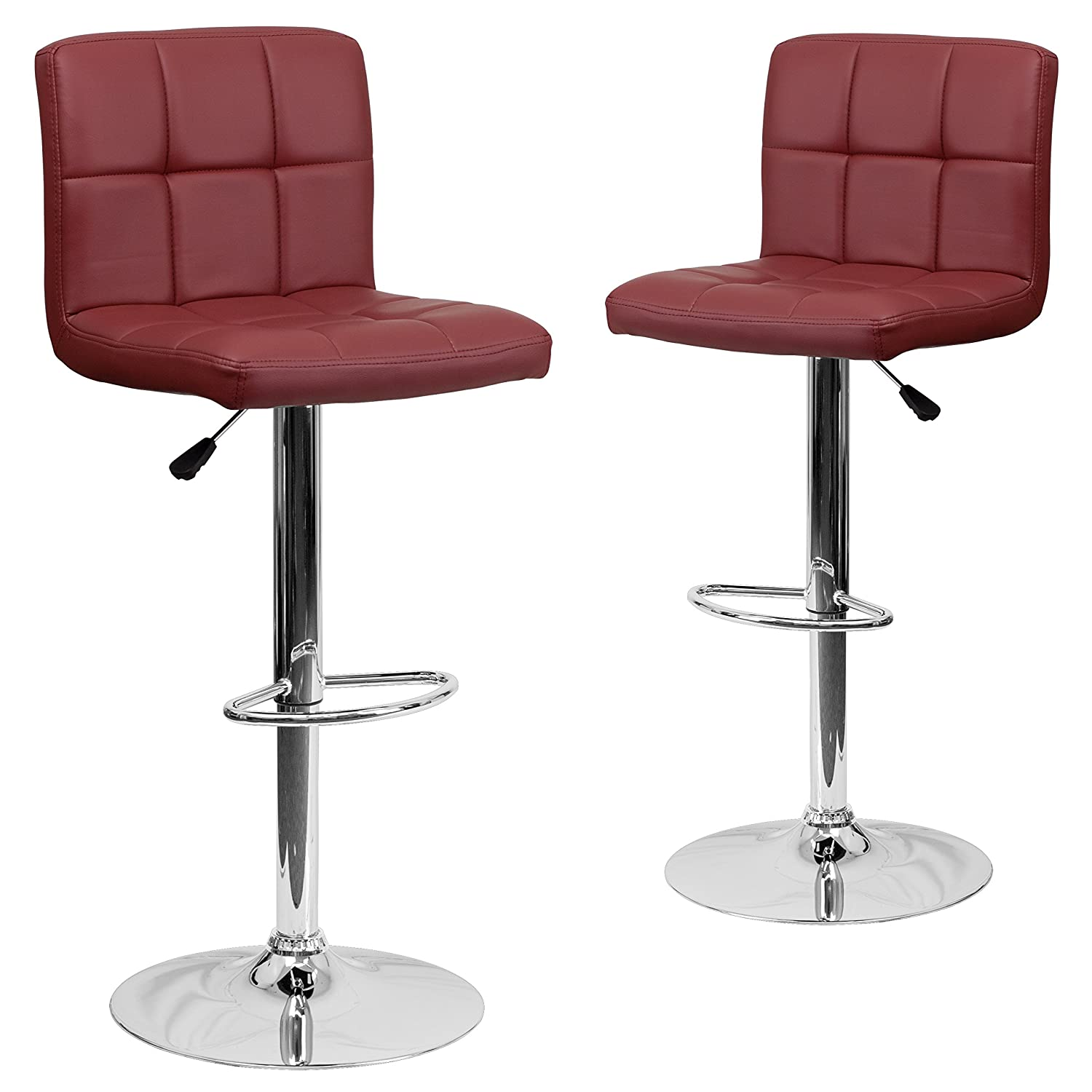 Flash Furniture 2 Pk. Contemporary Burgundy Quilted Vinyl Adjustable Height Barstool with Chrome Base, 2 Pack